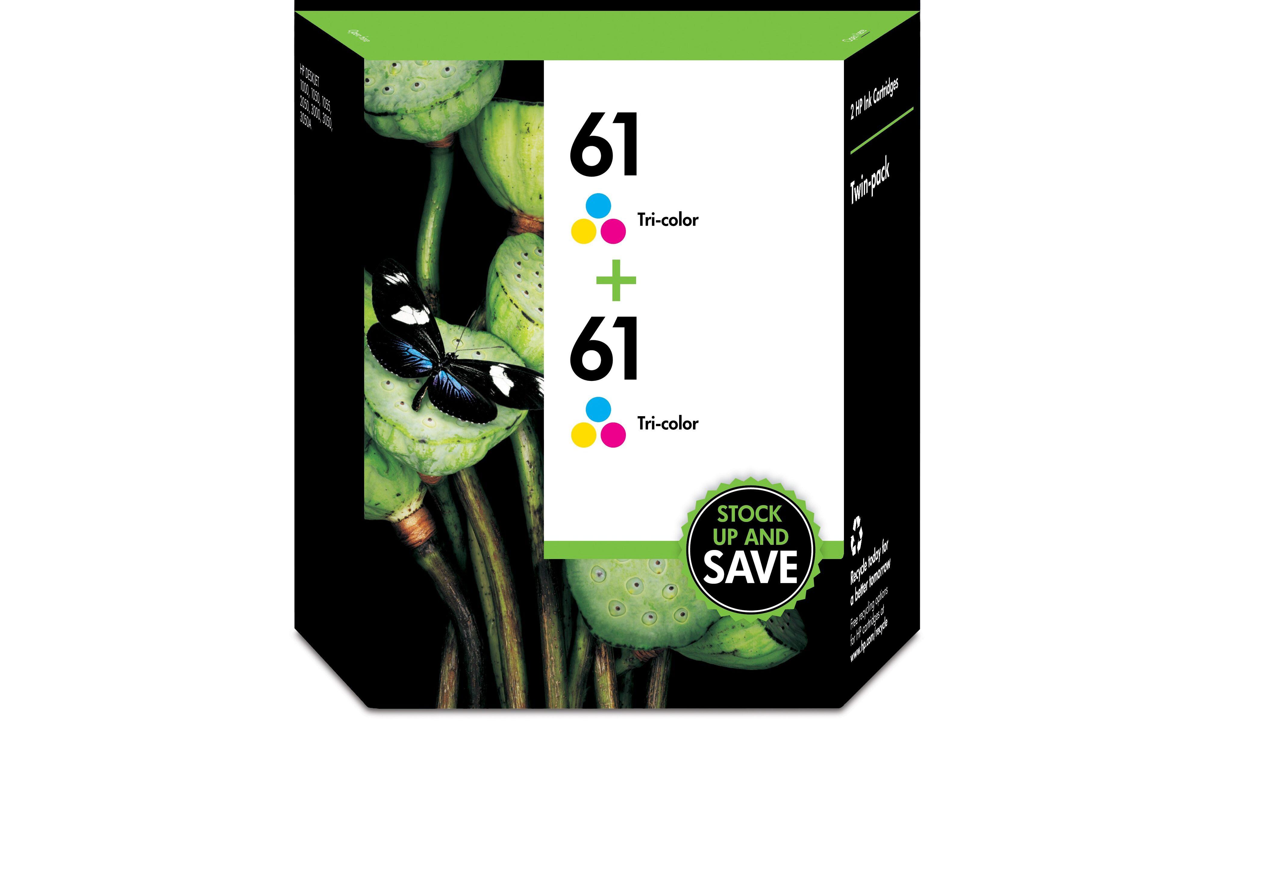 HP 61 2-pack Tri-color Original Ink Cartridges (CZ074FN)